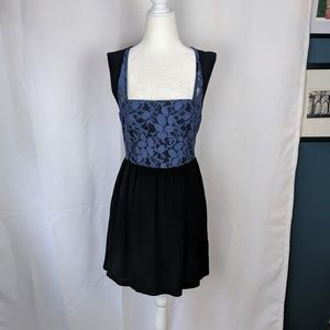 Urban Outfitters Blue & Black Lace Mini Dress